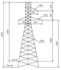 Опора промежуточная П110-3В, П110-3В+4 (вариант обозначения )