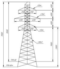 Опора промежуточная П110-6В, П110-6В+4 (вариант обозначения )