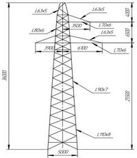 Опора промежуточная ПС220-3 (вариант обозначения )