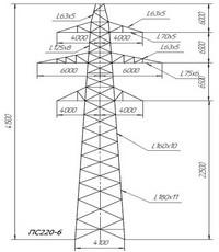 Опора промежуточная ПС220-6 (вариант обозначения ПС 220-6)