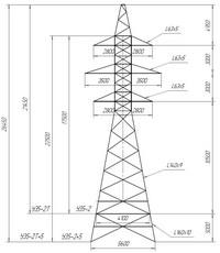 Опора анкерно-угловая У35-2, У35-2т, У35-2+5, У35-2т+5 (вариант обозначения )
